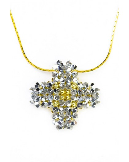 Swarovski Gray and gold Cross necklace