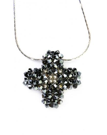 Swarovski Black and Silver Cross necklace