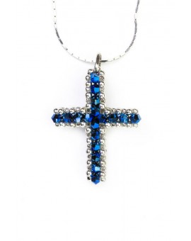 Swarovski Blue and White Cross necklace Big