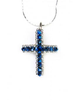 Swarovski Blue and gold Cross necklace
