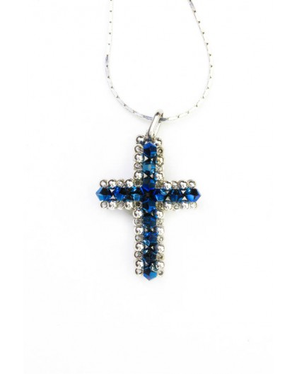 Swarovski Blue and gold Cross necklace small