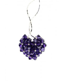 Swarovski Violet Crystals and silver Heart necklace