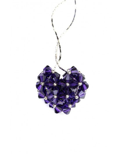 Swarovski Violet Crystal and silver Heart necklace