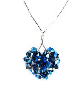 Swarovski Blue Crystals and silver Heart necklace