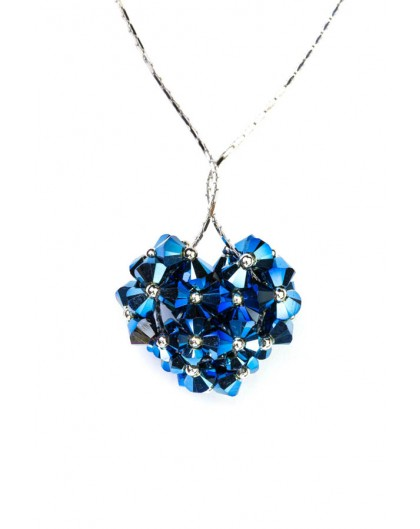 Swarovski Blue Crystal and silver Heart necklace