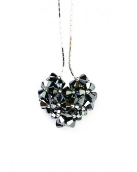 Swarovski Black Crystals and silver Heart necklace