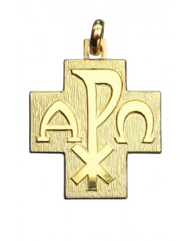 Alpha Omega Cross Pendant Gold plated small