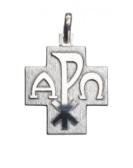 Alpha Omega Cross Pendant Sterling silver small