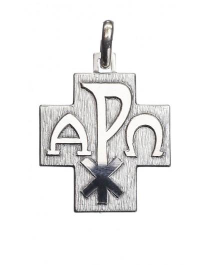 Alpha Omega Cross Pendant Sterling Silver Small