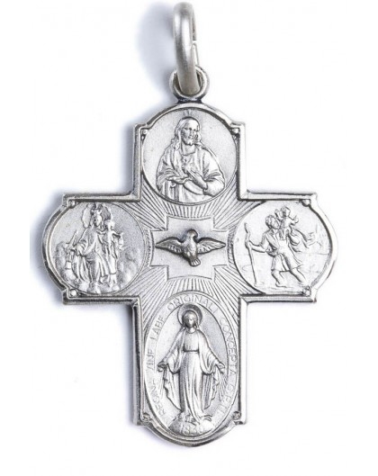 Four Way Medal Cross Sterling Silver