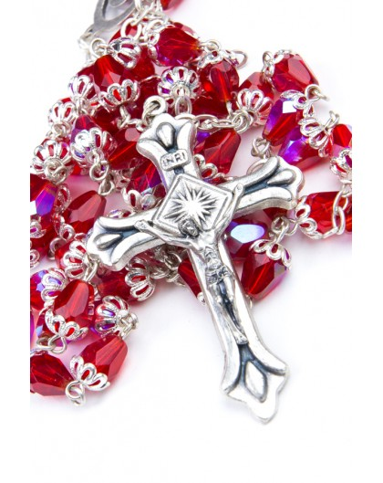 Red Crystal drop and Silver Christmas Gift