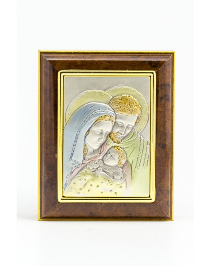 Wooden Box with Silver Holy Family