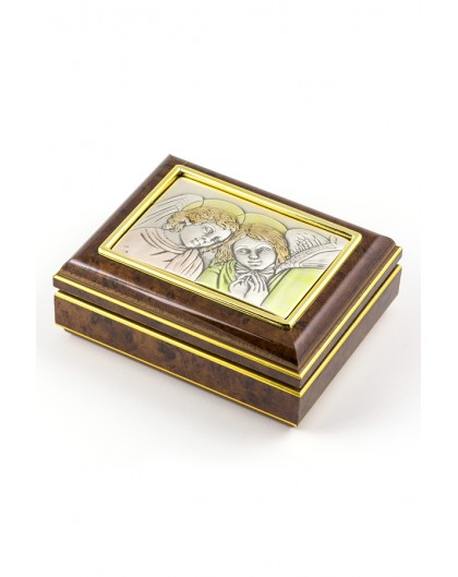 Rosary Box with Silver Praying Angels