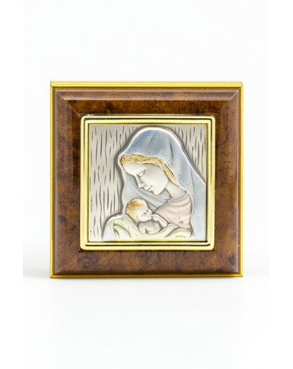 Wooden Box with Silver Virgin Mary with Jesus Child