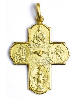 Four Way Medal Cross gold plated small
