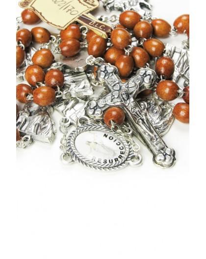 Metal Via Crucis Rosary - Light Wood