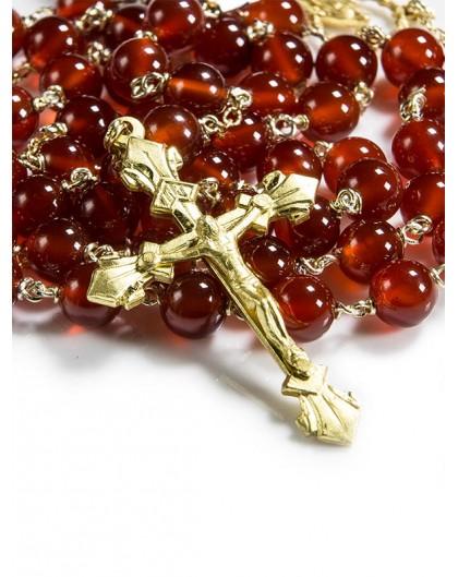 Cornelian Rosary gold plated