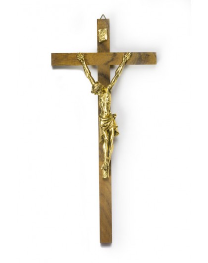 Walnut and Gold Crucifix