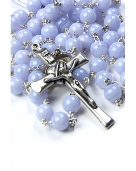 Chalcedony Silver Rosary