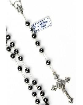 Hematite Antique Silver Rosary