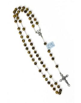 Tiger Eye Silver Rosary