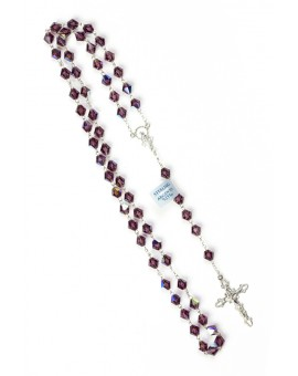 Violet Crystal Silver Rosary