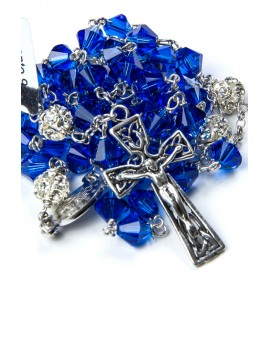 Blue Swarovski Crystal with Silver strass Paters Rosary