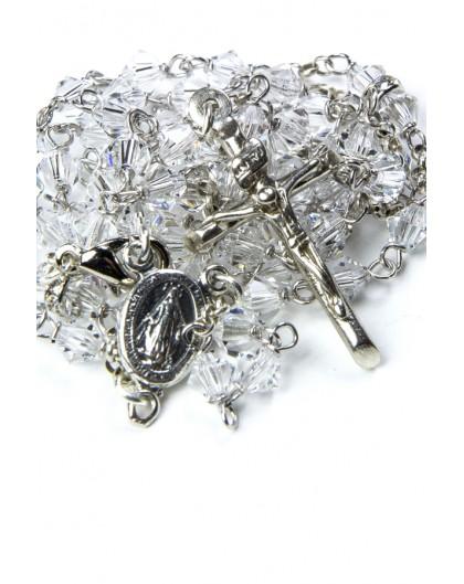 Pure Swarovski Crystal Silver Rosary Necklace