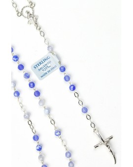 Sky Blue Variegata Agate Sterling Silver Necklace