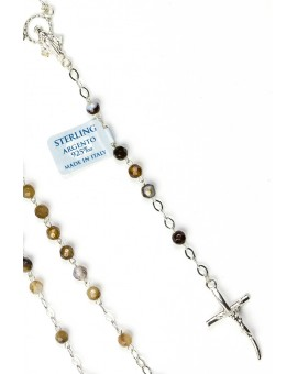Brown Variegata Agate Sterling Silver Necklace