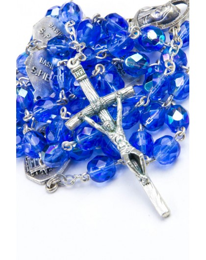 Four Basilicas Light Blue Rosary
