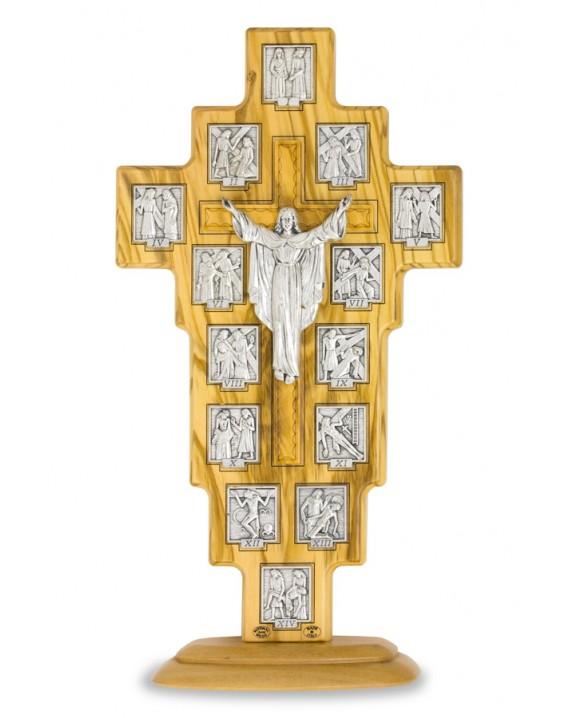 Olive Wood Via Crucis on stand