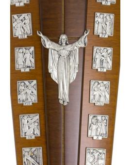 Dark Wood Via Crucis with stand