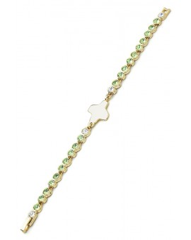 Swarovski Crystal Bracelet - Light Green - Metal Gold