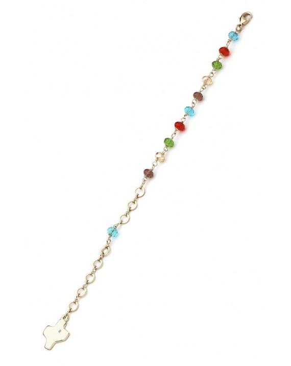Crystal Bracelet - Multicolor - Metal Gold