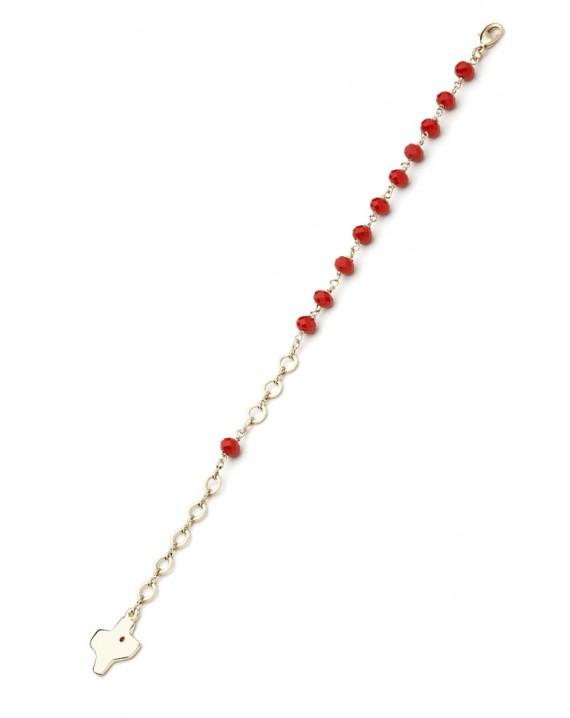 Crystal Bracelet - Red - Metal Gold