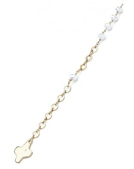 Crystal Bracelet - White - Metal Gold