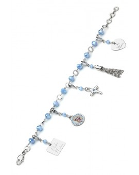 Charms Crystal Bracelet - Light Blue - Metal Gold