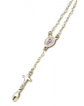 Enamelled Crucifix Crystal Bracelet - White - Metal Gold