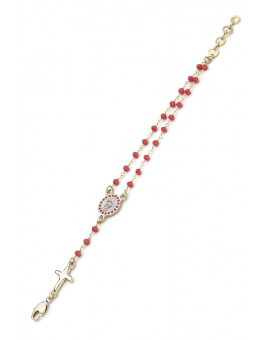 Enamelled Crucifix Crystal Bracelet - Red - Metal Gold