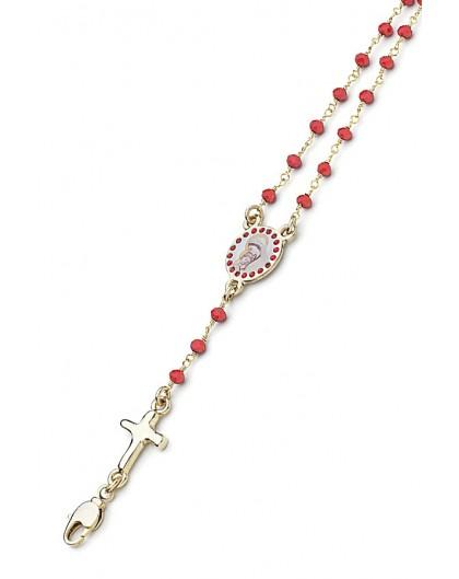 Enamelled Crucifix Crystal Bracelet - Red - Metal Gold