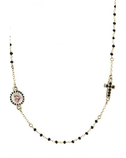 Crystal  Necklace with Crucifix with strass - Black - Metal Gold