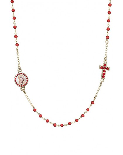 Crystal  Necklace with Crucifix with strass - Red - Metal Gold