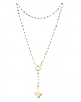 Crystal Rosary Necklace - Light Blue - Metal Gold