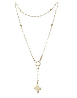 Crystal Rosary Necklace - White - Metal Gold
