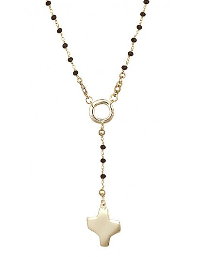 Crystal Rosary Necklace - Black - Metal Gold