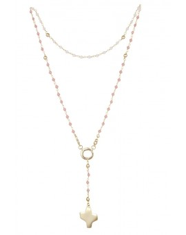Crystal Rosary Necklace - Pink - Metal Gold