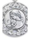 Sterling Silver Sleeping Jesus with Flowers Frame Cradle Medallion