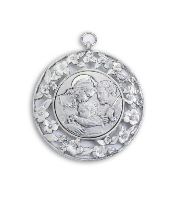 Sterling Silver Holy Family with Flowers Frame Cradle Medallion