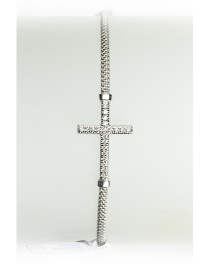 Sterling Silver Bracelet with Strass Crucifix